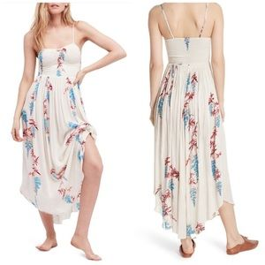 Free People Ivory Floral Smocked Maxi Dress